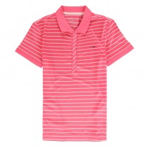 Pink Women Striped Breathable Cotton Polo