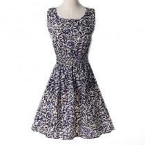 Popular Chiffon Print O-Neck Dresses