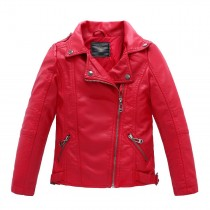 PU Leather Casual Children Outerwear Jackets