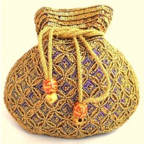 Purple Beaded Drawstring Potli Bag