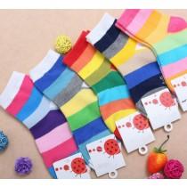 Rainbow Striped Pattern Ankle Girl Socks