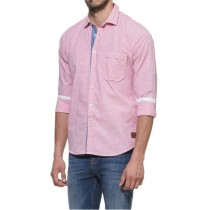 Red And White Casual Slim Fit Shirt With Roll-up Sleeves