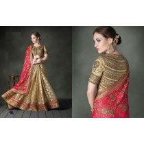 Red & Golden Embroidered Georgette Saree