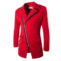Red Winter Slim Fit Fashion Long Jacket