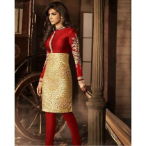 Red With Gold Sequins Work Churidar Suit
