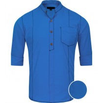 Saddle Stitching Royal Blue Casual Regular Fit Shirt