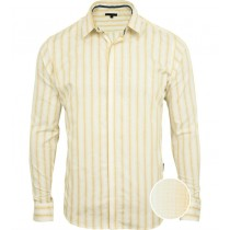 Sandy Brown And White Stripes Formal Shirt