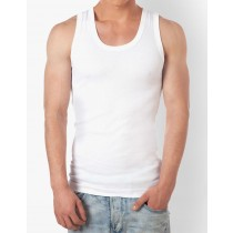 Sleeveless Solid White Round Neck Vest