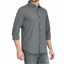 Slim Fit Grey Striped Pattern Casual Shirt
