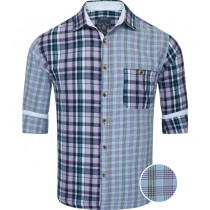 Slim Fit Multicolored Light Blue Checks Casual Shirt