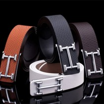 Smooth Silver Buckle Leather Luxury Belts