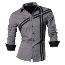 Spring Autumn Features Long Sleeve Slim Fit Men Casual Shirts
