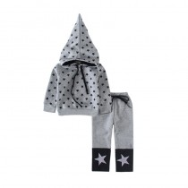 Star Printed Hooded And Pants Kids Tracksuits