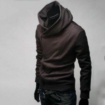 Stylish Brown High Collar Mens Cotton Jacket