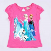Stylish Cartoon Print Short Sleeve Girl Tshirts