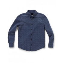Stylish Navy Blue Geometric Pattern Casual Shirt