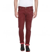 Stylish Red Colored Slim Fit Casual Trouser