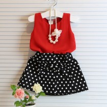 Stylish Toddler Girl Red With Black Skirt Set