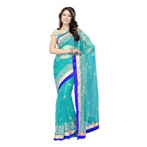 Stylish Turquoise Blue Net Sari With Blouse