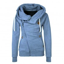 Stylish Women Side Zipper Hoodie Sweatshirts
