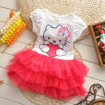 Summer kitty Cartoon Design Girl Dresses