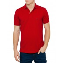 Summer Red Short Sleeve Polo Tshirt
