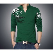 Trend Print Slim Fit Long Sleeve Men V-Neck T Shirt