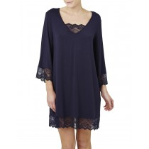 V Neck Navy Blue Loose Fit Nightwear