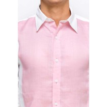 White And Pink Linen Slim Fit Formal Shirt