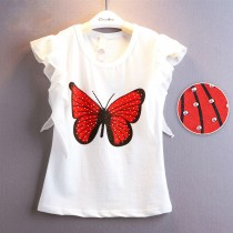 White Girl Fashion Butterfly Print Sparkling Tshirt