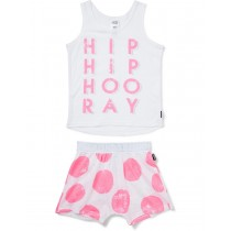 White On Pink Printed  2 Piece Sleep Set
