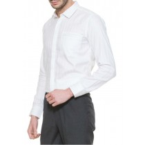 White Self Striped Slim Fit Formal Shirt