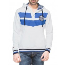 White Sweatshirt With Royal Blue Stripes