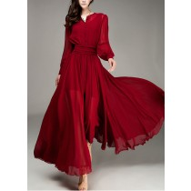 Wine Red Elegant Chiffon Fall Casual Dress