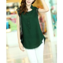 Woman Chiffon Embroidery Casual Shirts
