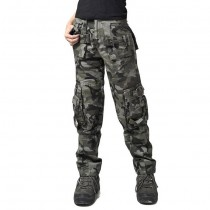 Women Cotton Military Army Green Cargo Trousers