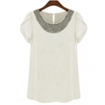 Women Fashion Chiffon Short Sleeve T- Shirt