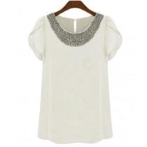 Women Fashion Chiffon Short Sleeve T- Shirt