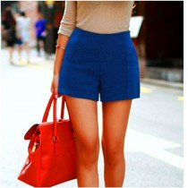 Women High Waist Wool Plus Size Shorts1