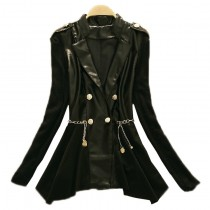 Women Leather Patchwork Long Jacket