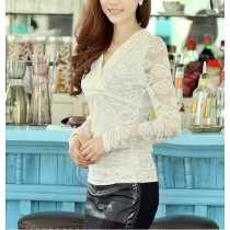 Women Long Sleeve Lace Pattern Tops