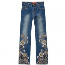 Women Luxury Flower Embroidered Jeans