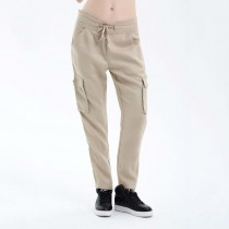 Women New Elastic Waist Khaki Cargo Trousers