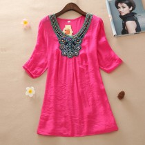 Women Pink Embroidery Plus Size Top