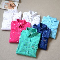 Women Polka Dot Embroidery Casual Shirts