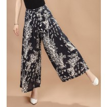 Women Printed Flower Pattern Casual Trousers