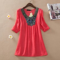 Women Red Embroidery Plus Size Top