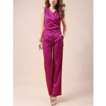 Women Sleeveless V Neck Silk Jumpsuits