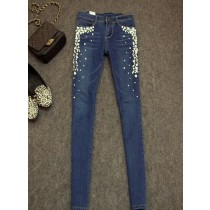 Women Stretch Rhinestones Skinny Jeans
