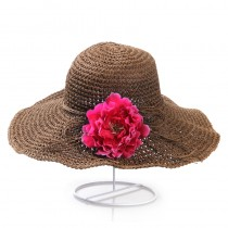 Womens Anti-UV Wide Brim Floppy Straw Foldable Hats